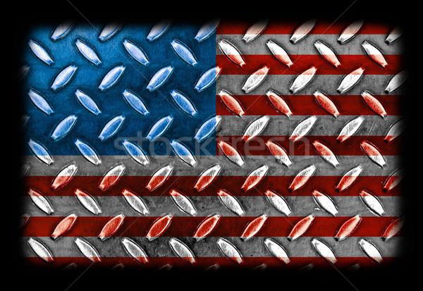 Amerikai zászló gyémánt fém textúra textúra fal absztrakt Stock fotó © Frankljr