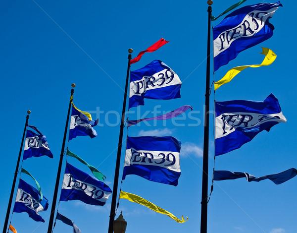Bayraklar iskele San Francisco Kaliforniya ABD yeşil Stok fotoğraf © Frankljr