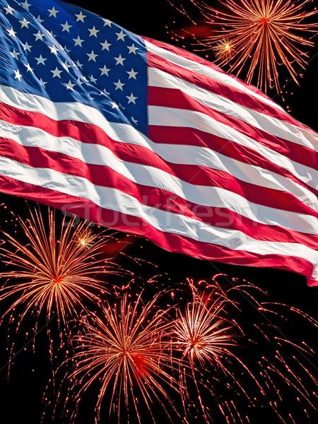 Foto stock: Bandeira · americana · fogos · de · artifício · exibir · abstrato · luz · azul