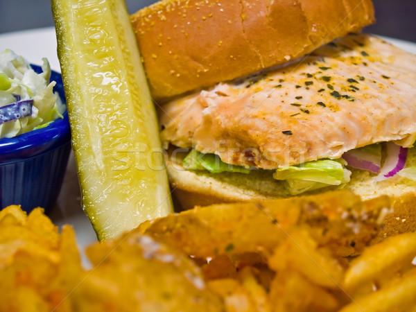 Grilled Salmon Sandwich Stock photo © Frankljr