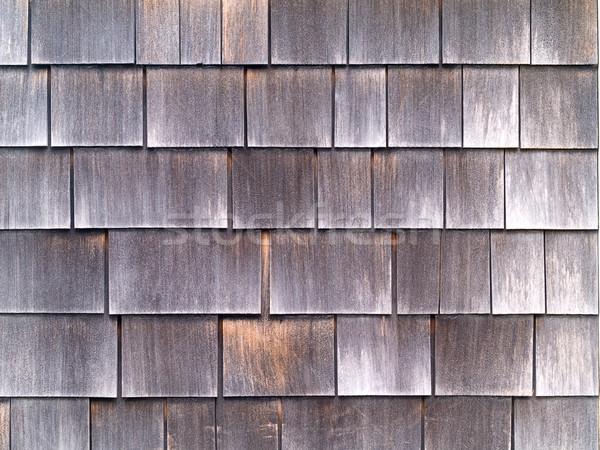 Madeira telha parede fora casa textura Foto stock © Frankljr