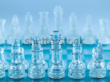 Glass Chess Pieces on a Frosted Glass Chessboard Stock photo © Frankljr