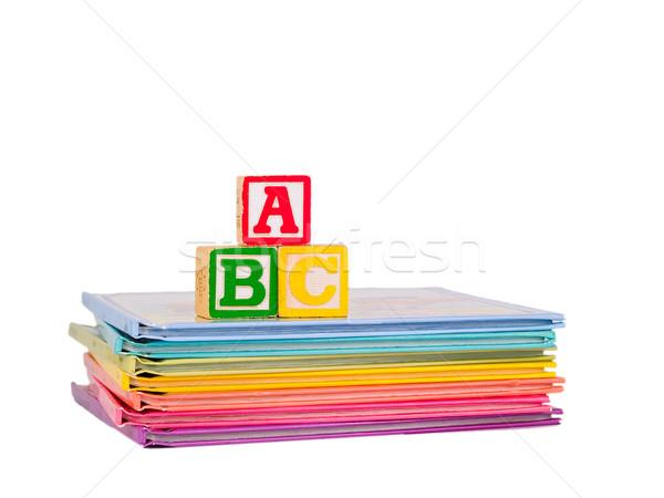 Bloklar kitaplar çocuklar okul çocuk elma Stok fotoğraf © Frankljr