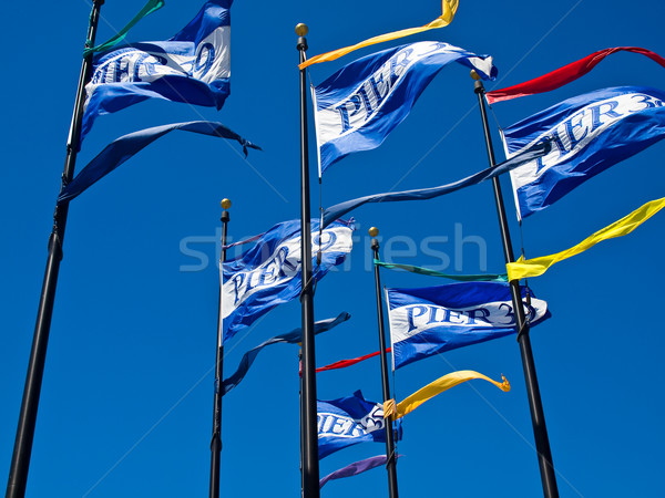 Vlaggen pier San Francisco Californië USA groene Stockfoto © Frankljr