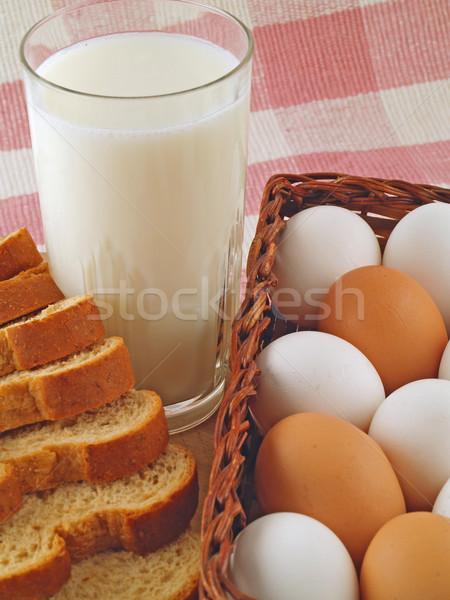 Melk eieren brood ontbijt gezondheid koe Stockfoto © Frankljr