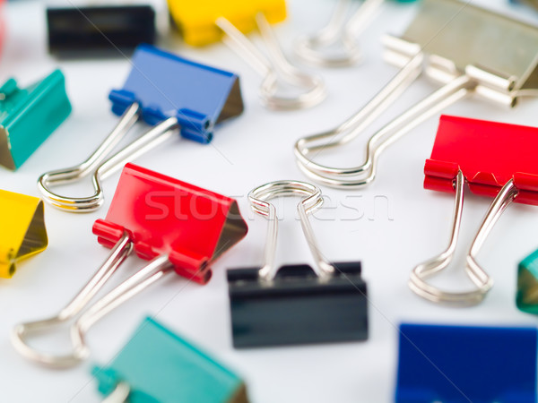 Multicolored Binder Clips with a Single Silver Clip Stock photo © Frankljr