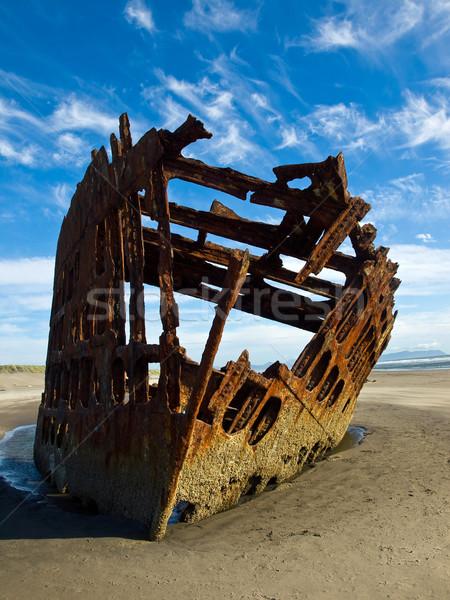 Сток-фото: ржавые · крушение · судно · пляж · Орегон · побережье