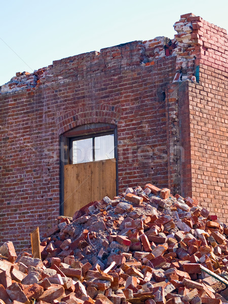 A demolition site with a pile of demolished brick Stock photo © Frankljr