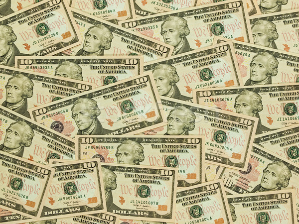 Stock photo: A Pile of Ten Dollar Bills as a Money Background