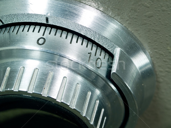 Closeup of a Safe Vault Combination Spinner - Gray Toned Stock photo © Frankljr
