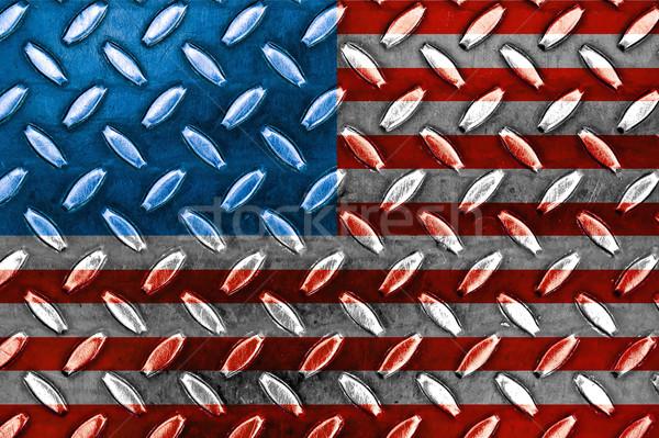 Gyémánt kék fém textúra amerikai zászló textúra fal Stock fotó © Frankljr