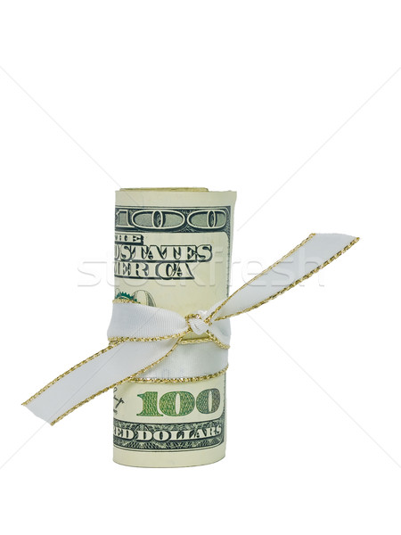 A single US Banknote rolled and tied with a white ribbon. Stock photo © Frankljr