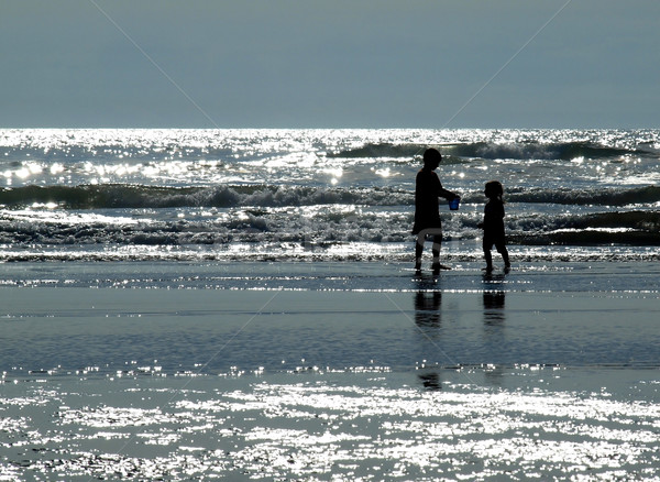 Two Kids Playing on the Beach Stock photo © Frankljr