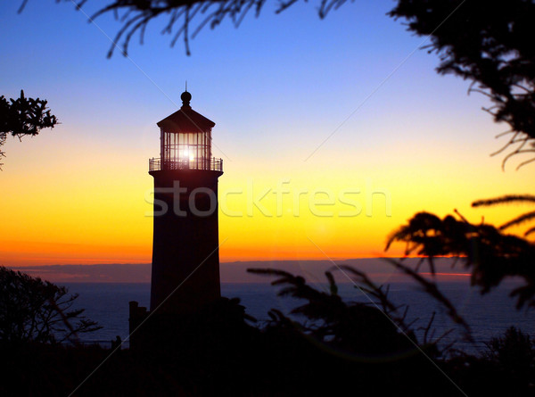 Light Shining in the North Head Lighthouse on the Washington Coast at Sunset  Stock photo © Frankljr