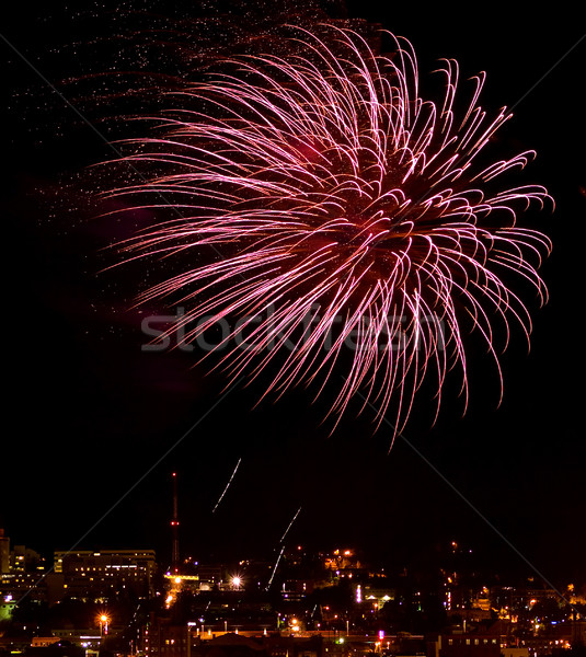 Fireworks Against the Night Sky of a Cityscape Stock photo © Frankljr