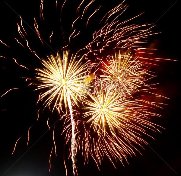 Longa exposição fogos de artifício preto céu festa luz Foto stock © Frankljr