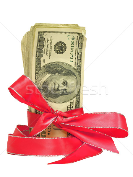 Currency Wrapped in a Red Ribbon as a Gift  Stock photo © Frankljr