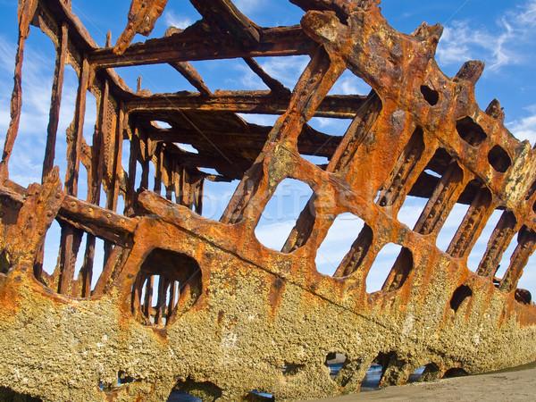 Roestige schip strand Oregon kust Stockfoto © Frankljr