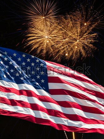 The American Flag and Green Fireworks from Independence Day Stock photo © Frankljr