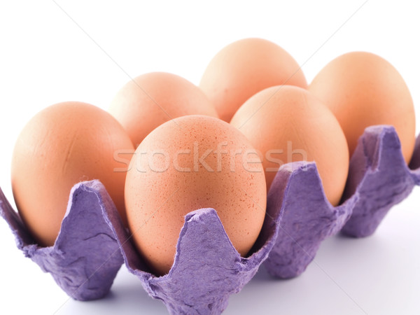 Six Brown Eggs in an Egg Carton Isolated on White Stock photo © Frankljr