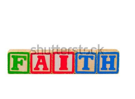 Kleurrijk alfabet blokken geloof spelling woord Stockfoto © Frankljr