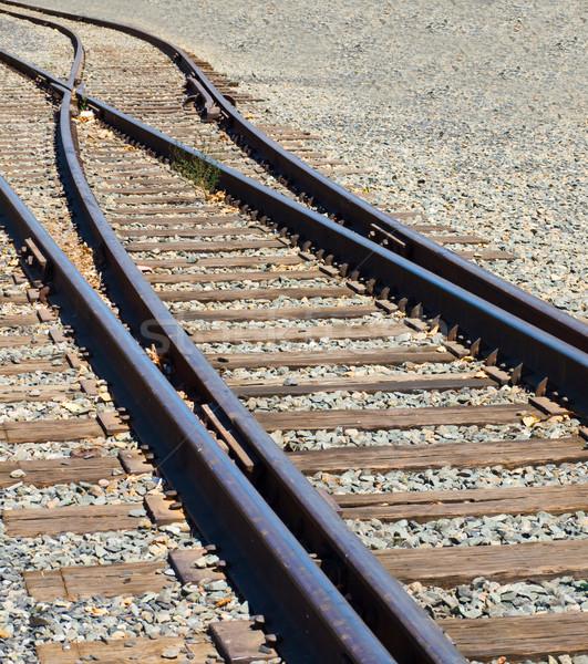 öreg vasúti sinek elágazás napos idő fém ipari Stock fotó © Frankljr