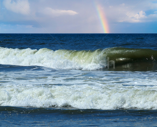 Ocean Waves Breaking on Shore with a Partial Rainbow Stock photo © Frankljr