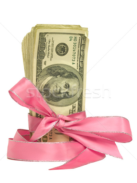 Currency Wrapped in a Pink Ribbon as a Gift  Stock photo © Frankljr