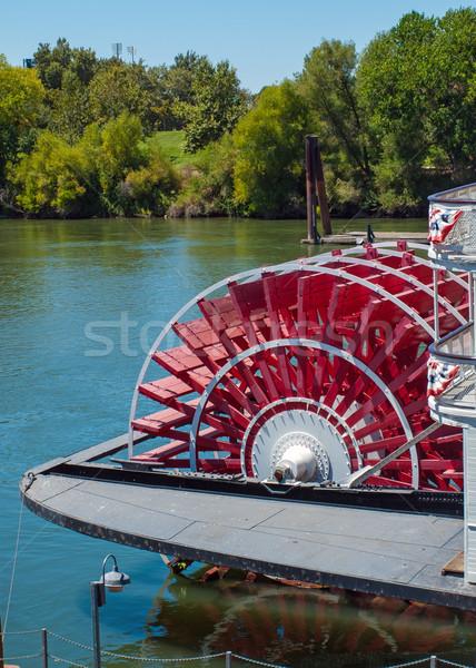 Kırmızı tekerlek nehir ağaçlar şehir moda Stok fotoğraf © Frankljr