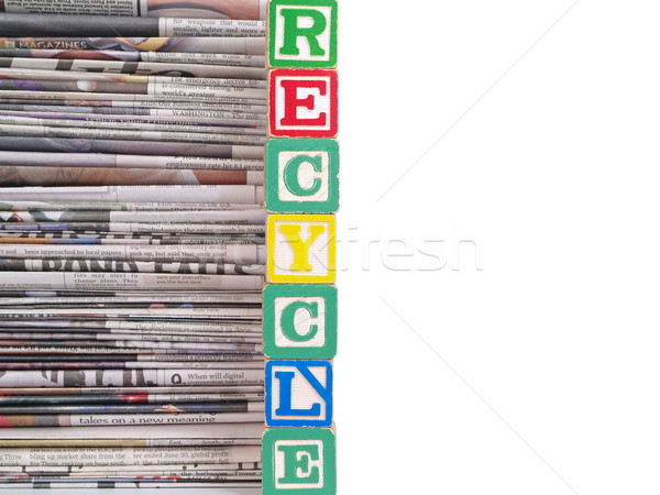 A Pile of Newspapers with the Word RECYCLE Stock photo © Frankljr