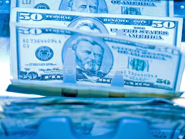 Elektronische geld counter 50 Blauw Stockfoto © Frankljr