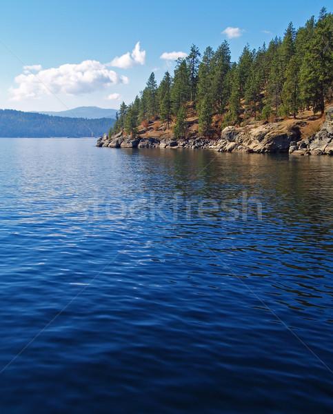 A Mountain Lake Under a Deep Blue Sky Coeur d'Alene Idaho USA Stock photo © Frankljr