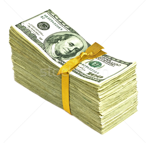 Stack of Older United States Currency Tied in a Ribbon - Hundreds Stock photo © Frankljr
