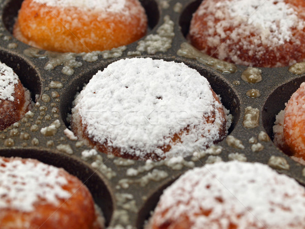 A Pan of Freshly Cooked Aebelskivers with Powdered Sugar Stock photo © Frankljr