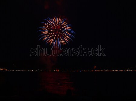 Long Exposure of Fireworks Reflecting on Calm Rippling Water Stock photo © Frankljr