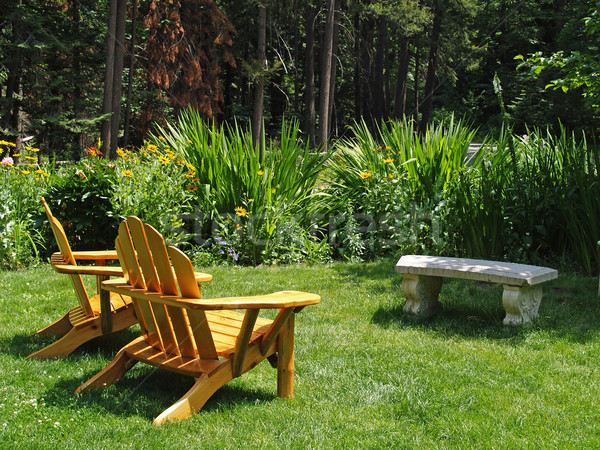 Adirondack Chairs on a lawn Stock photo © Frankljr