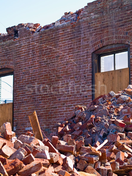 A demolition site with a pile of demolished brick Stock photo © Frankljr
