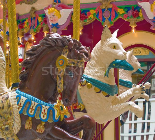 Carrousel dieren amusement vis paard Stockfoto © Frankljr