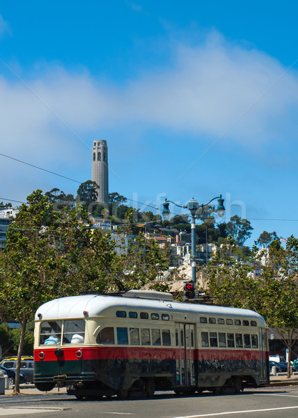 Coit Tower and Trolley in San Francisco Stock photo © Frankljr
