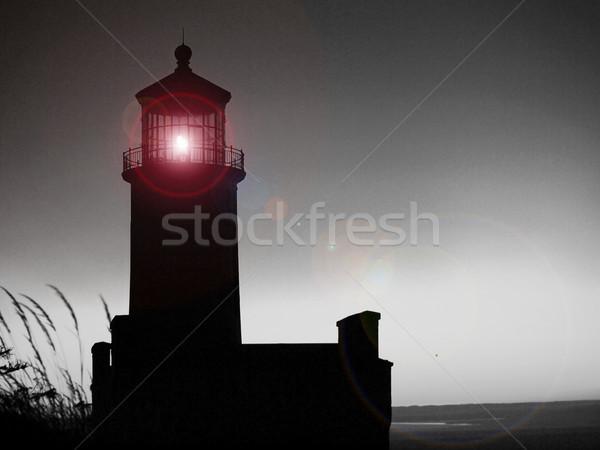 Deniz feneri Washington sahil gün batımı su Stok fotoğraf © Frankljr