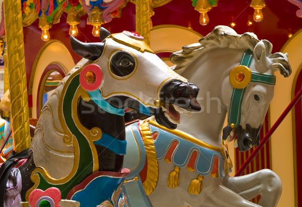 Carrousel paarden vrolijk familie zomer speelgoed Stockfoto © Frankljr