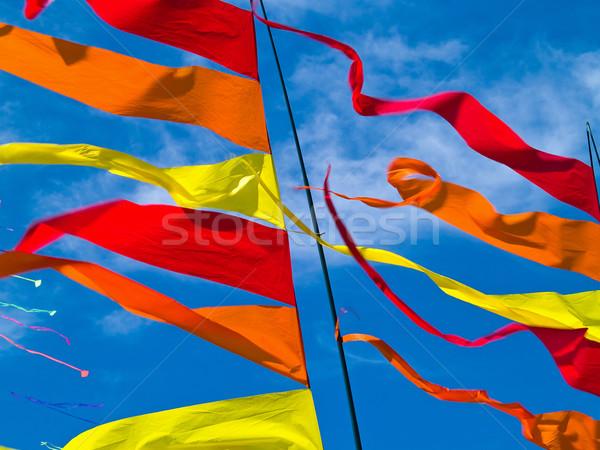 Foto stock: Vermelho · laranja · amarelo · bandeiras · blue · sky