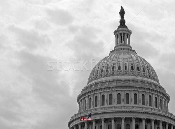Stany Zjednoczone Capitol budynku Washington DC amerykańską flagę czarny biały Zdjęcia stock © Frankljr
