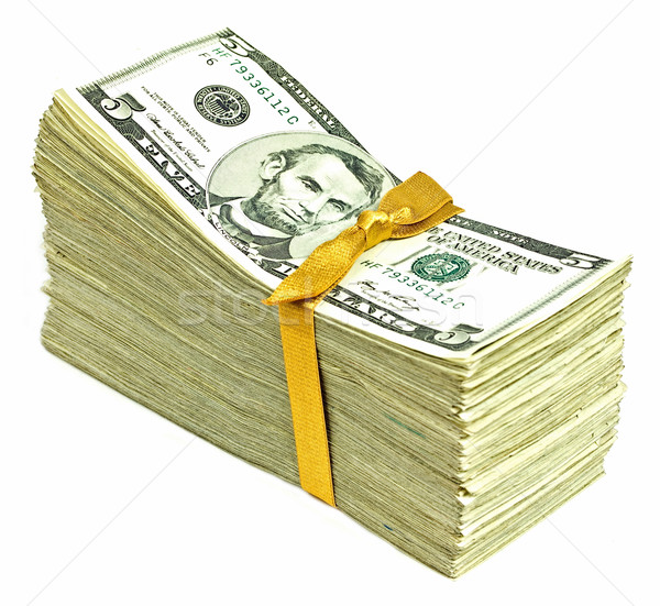 Stack of New United States Currency Tied in a Ribbon - Fives Stock photo © Frankljr