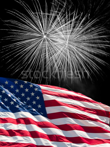 The American Flag and White Fireworks from Independence Day Stock photo © Frankljr