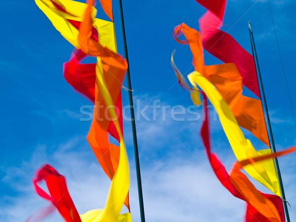 Stockfoto: Rood · oranje · Geel · vlaggen · blauwe · hemel
