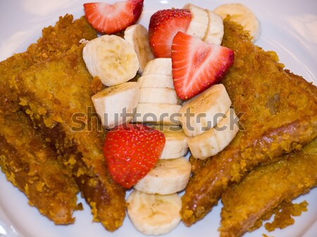 French Toast with Sliced Bananas and Strawberries Stock photo © Frankljr