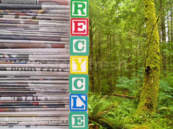 A Pile of Newspapers and Nature Scene with the Word RECYCLE Stock photo © Frankljr