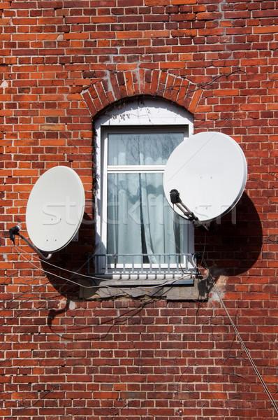 Tv venster wereld muur internet home Stockfoto © franky242