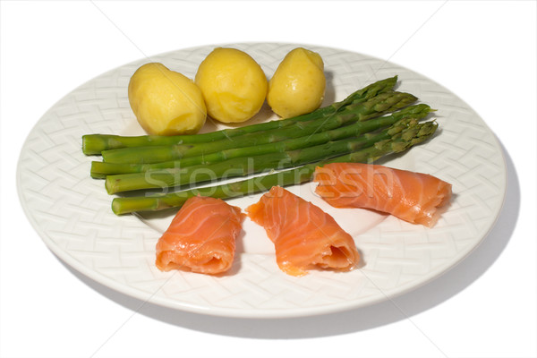 Stock photo: Asparagus with Salmon